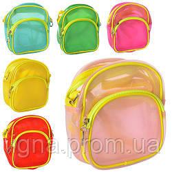 Сумочка 410 (80шт) длинная ручка, застежка-молния, 6 цветов, пластик, в кульке, 17,5-18-3см