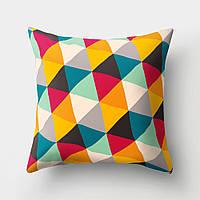 Подушка декоративная Разноцветные треугольники 45 х 45 см Berni, фото 1