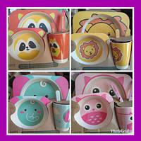 SALE!Маленький эко набор детской посуды 5 шт (обезьянка)