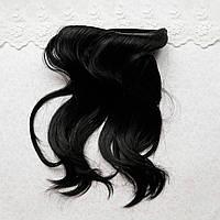 Волосы для кукол в трессах легкая волна, холодный черный - 15 см