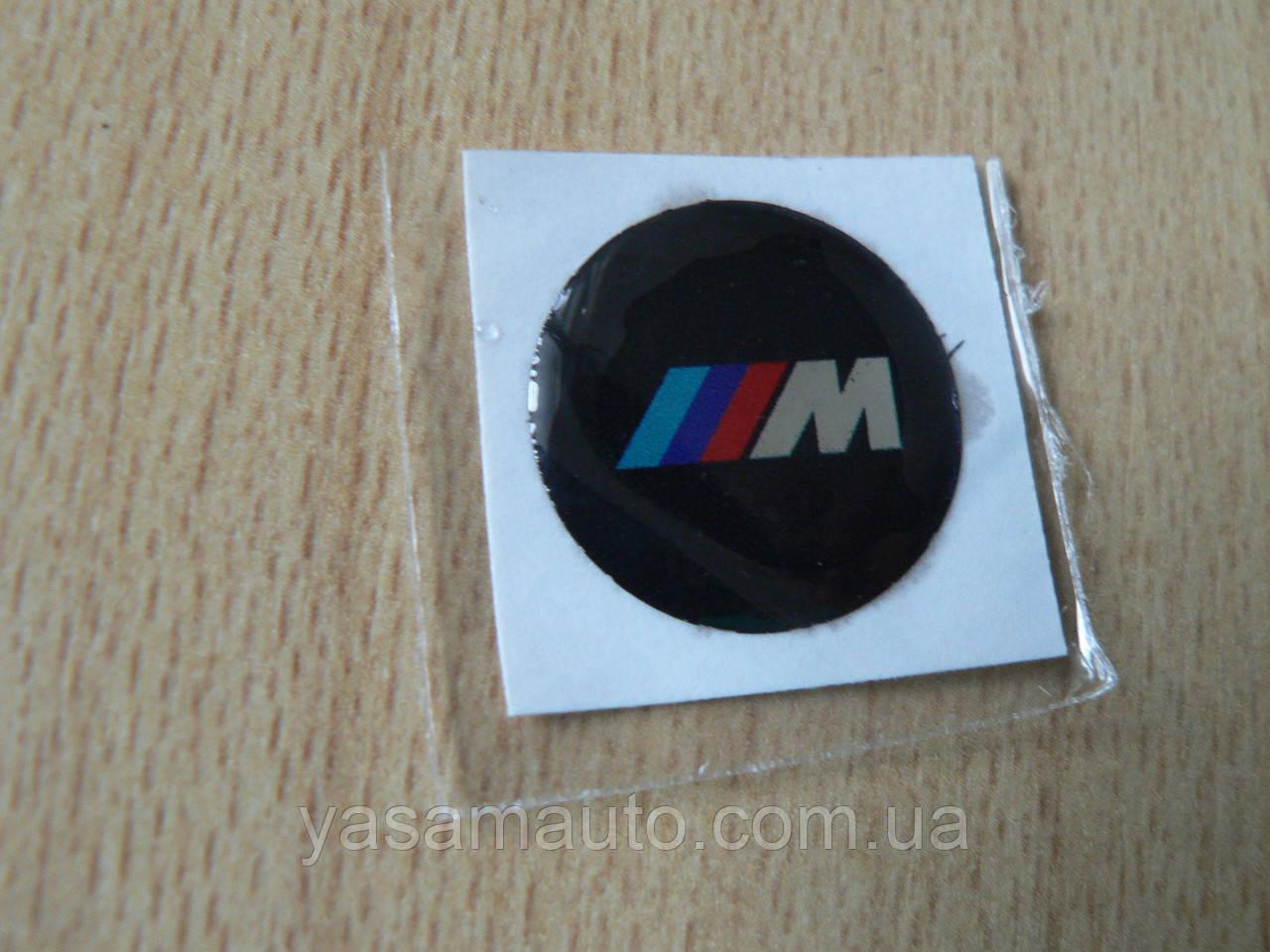 Наклейка s круглая BMW 3M 13х13х1.3мм черный без ободка силикон эмблема на авто ключи сигнализацию /// 3М БМВ
