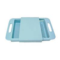 Разделочная кухонная пластиковая доска на мойку для нарезки овощей - Голубая