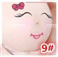 Веселые наклейки на беременный животик для фотосессии №9