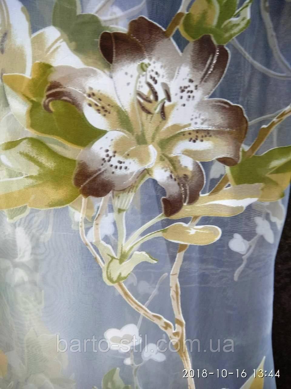"""Тюль с печатью на органзе """"Лилия"""" высота 2.8 м. на метраж и опт., фото 1"""
