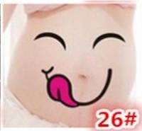Веселые наклейки на беременный животик для фотосессии №26