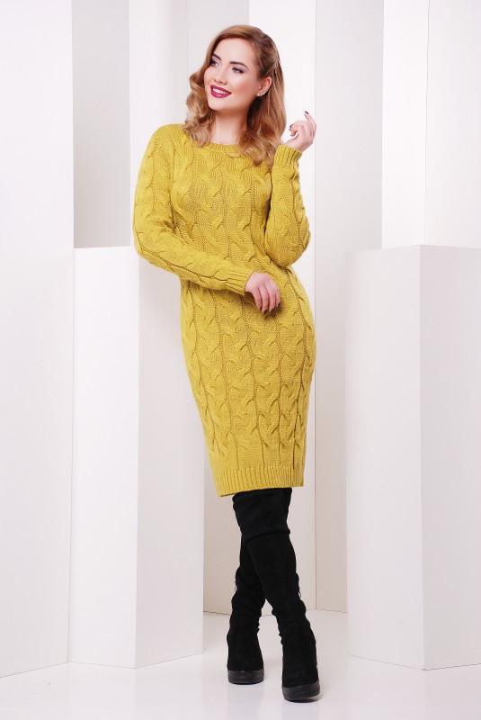 стильное теплое зимнее вязаное платье цена 875 грн купить в