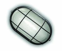 Светильник герметичный овал 100W с реш. черный