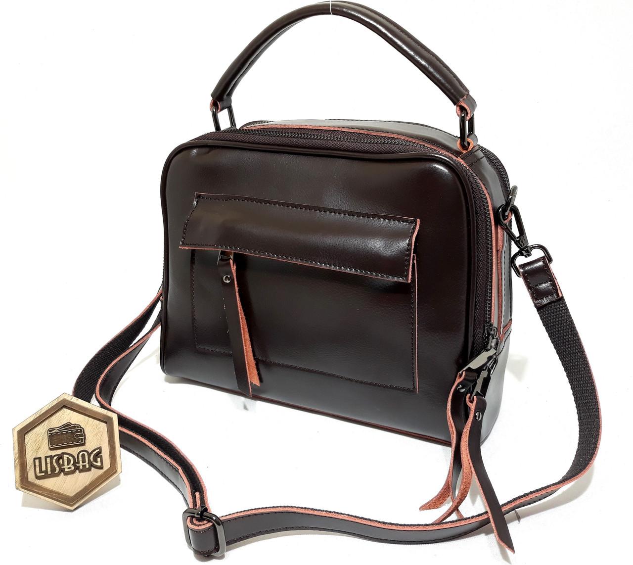 c64f8015d3ce Женская кожаная сумка Темно-коричневая цвета для повседневной носки ...