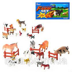 Животные H 639-1-2 (72шт) домашние, забор, 2 вида, 15шт в кульке, 32,5-23-6см