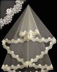 Фата, Amour Bridal,  до пояса с кружевом шантильи 15002. Цвет: белый,  айвори