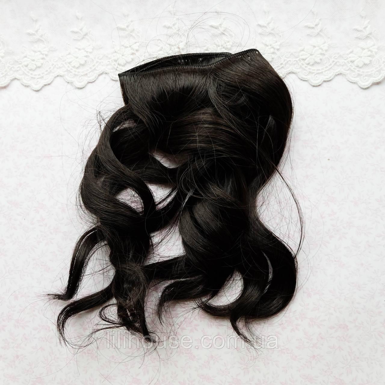 Волосы для кукол в трессах легкая волна, черные - 25 см