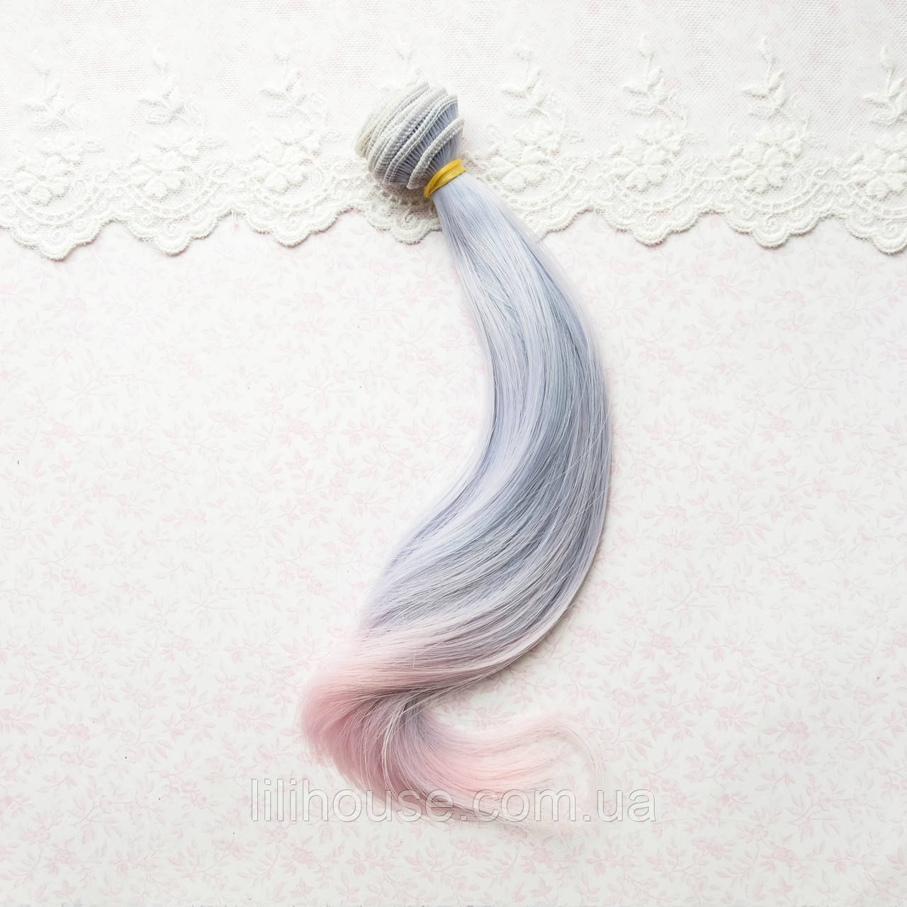 Волосы для Кукол Легкая Волна Омбре ГОЛУБЫЕ с РОЗОВЫМ 20 см