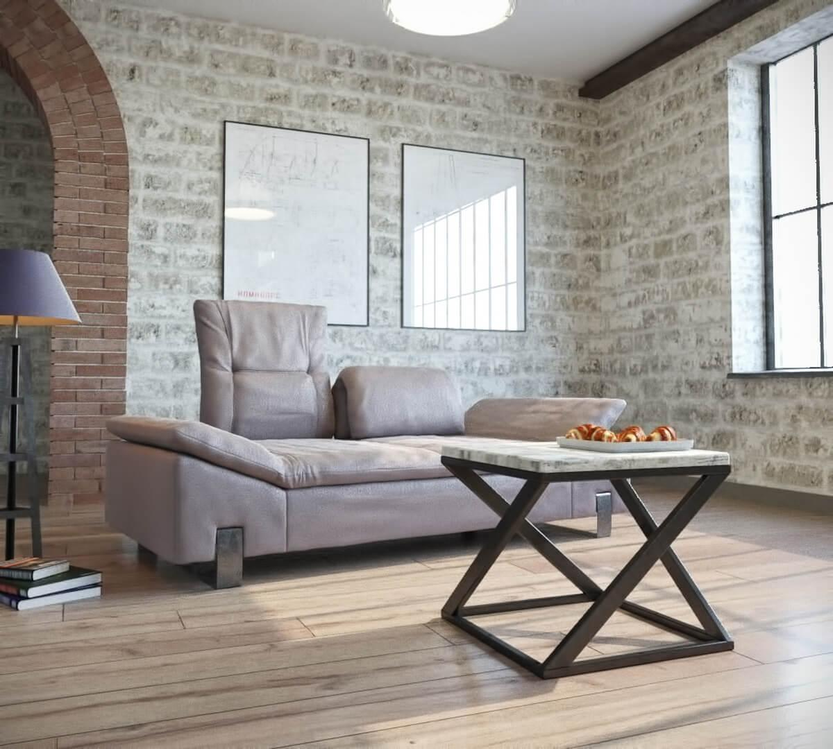 Стол журнальный, кофейный металлическое основание современного дизайна в стиле loft  Бент Металл-Дизайн