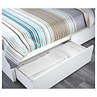 Двуспальная кровать IKEA MALM 160х200 см 2 ящика Luröy белая 791.759.83, фото 3