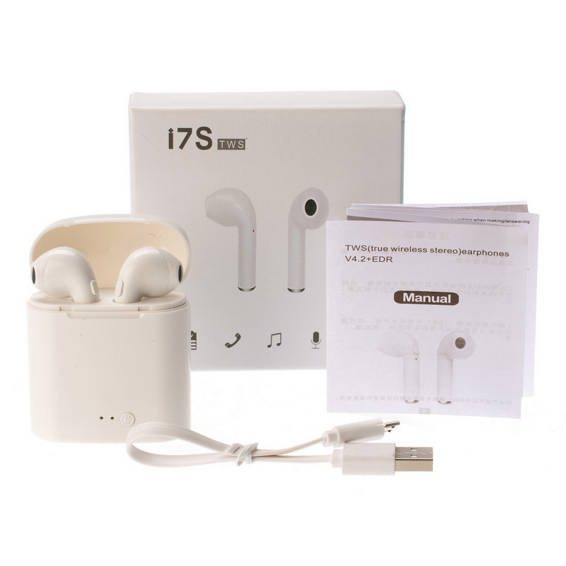 Беспроводные наушники I7s TWS Bluetooth c кейсом Белые