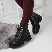 Женские зимние  ботинки Тимберленды черные натуральная  кожа , фото 1