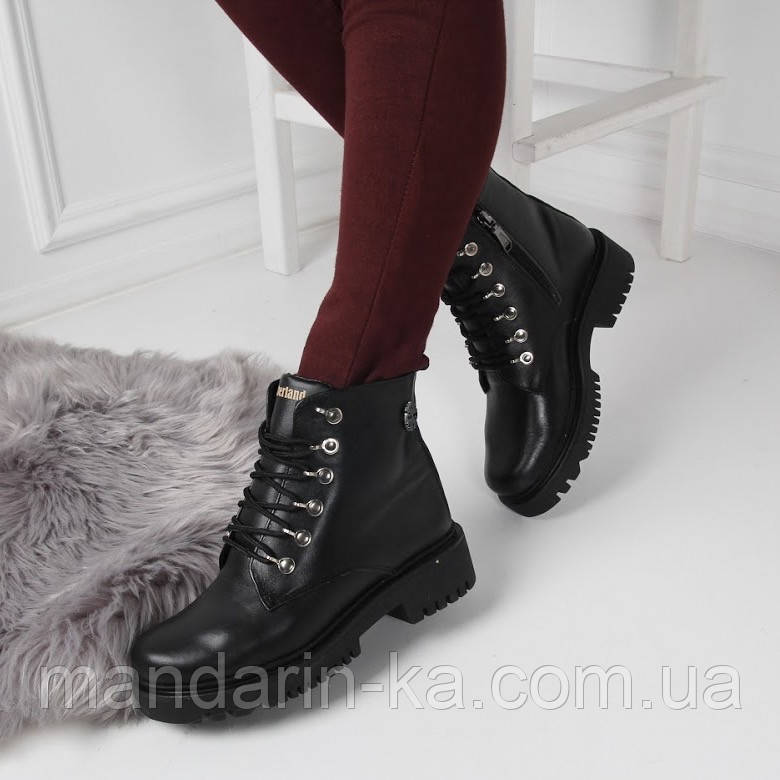 Женские зимние  ботинки Тимберленды черные натуральная  кожа
