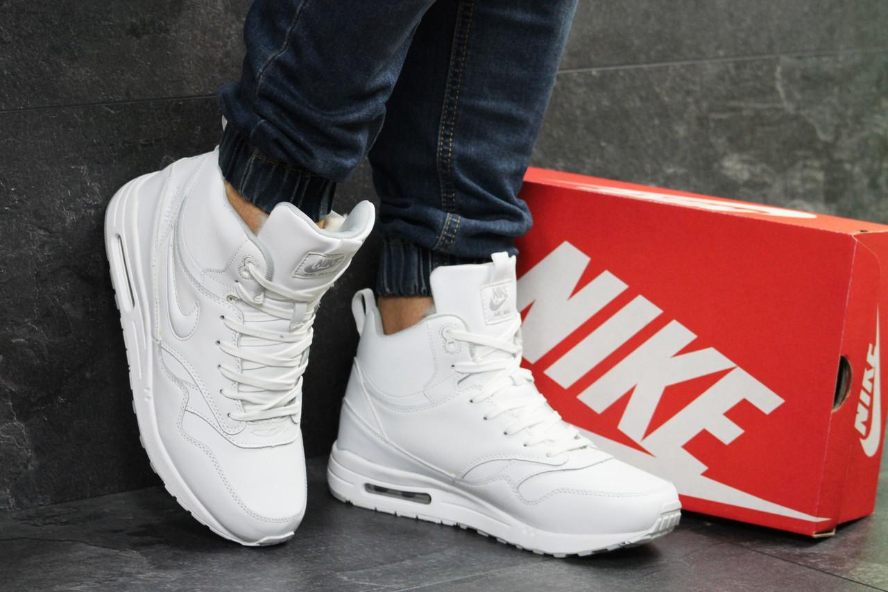 ac23e9788af347 Белые зимние мужские кроссовки Nike Air Max 87 - найк с мехом / чоловічі  кросівки (