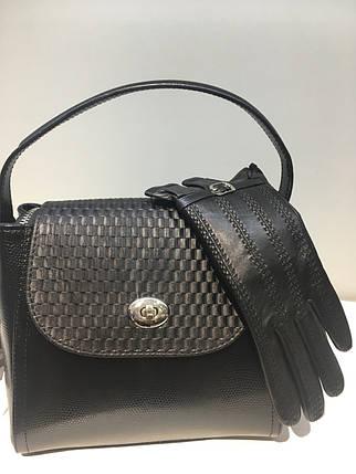 Модная женская сумочка из натуральной кожи 1119-0711 с тиснением ящерица, фото 2