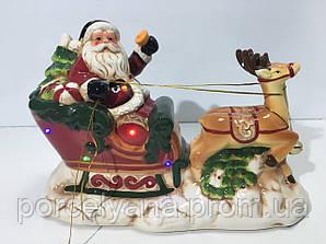 Санта с упряжкой 24*32 см 2 режима керамика Ewax