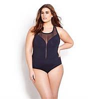 Стильный женский купальник больших размеров с переплетом на спине черный