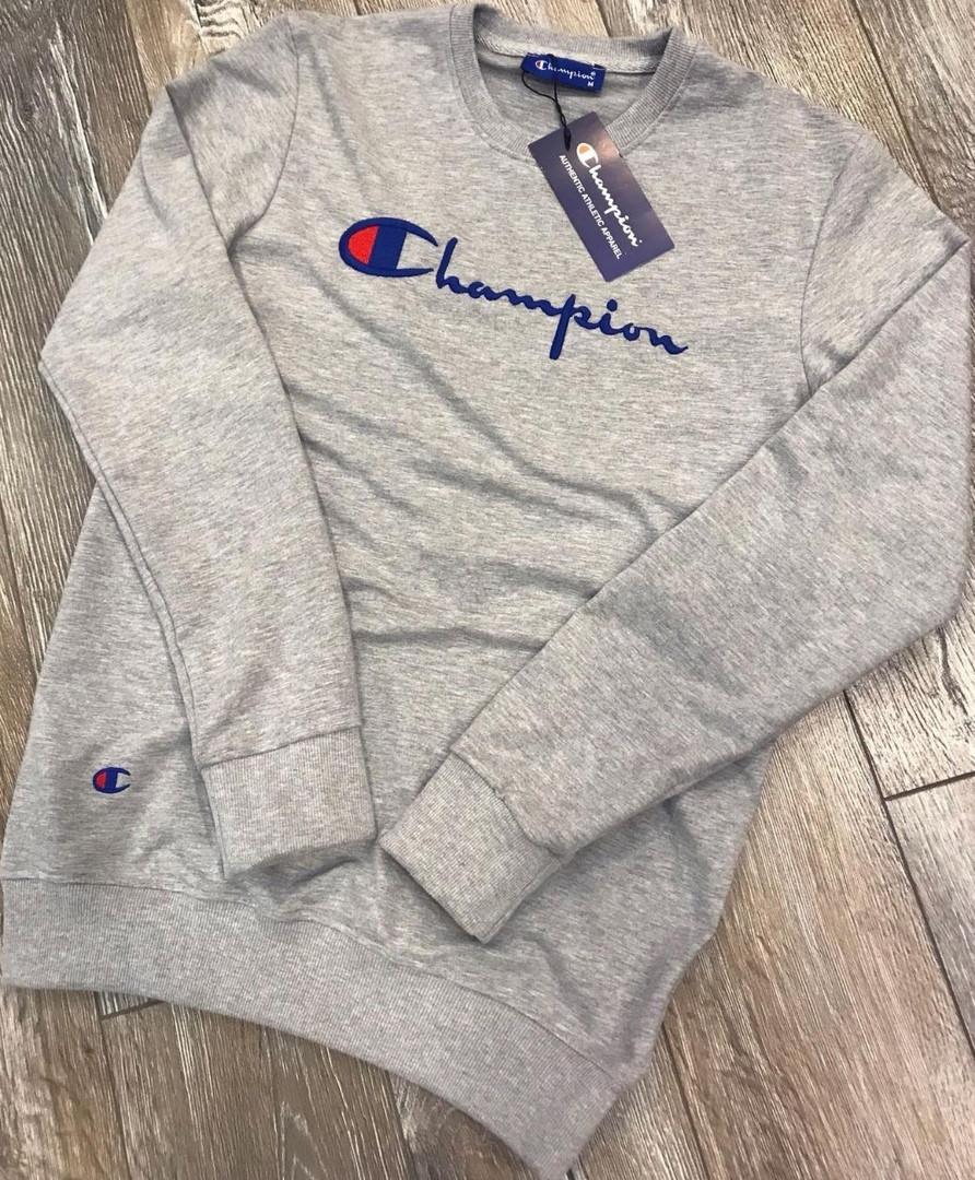 Молодежный свитшот Champion серого цвета топ реплика