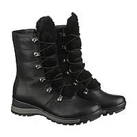 Зимние женские ботинки черного цвета с мехом на языке