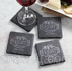 Сланцевые бирматы, костеры, бирдекели, подстаканник с логотипом