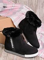 Ботинки женские зима с меховой отделкой черные 30529