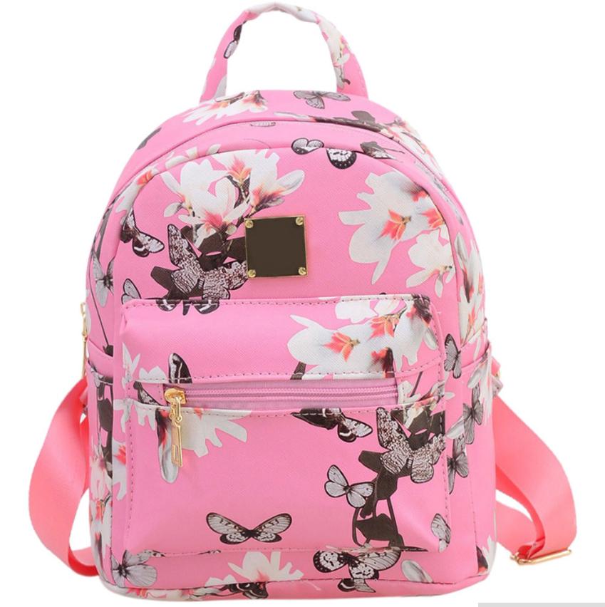 Рюкзак женский кожзам Цветочный принт Розовый