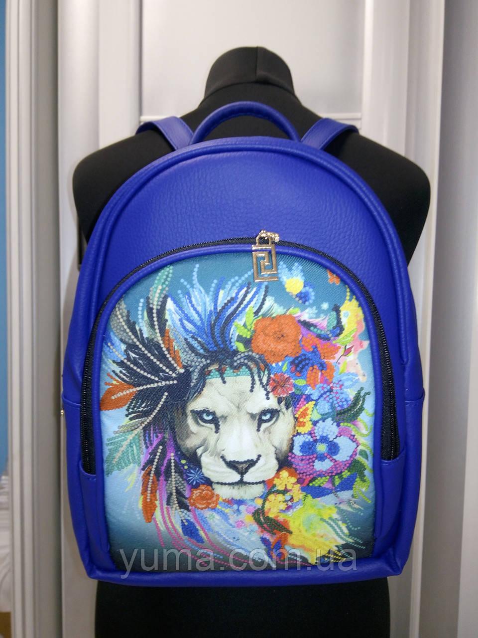 Сумка-рюкзак для вышивки бисером   Рюкзак Модель 2 С14 синий или черный кожзам