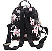 Рюкзак женский кожзам Цветочный принт Черный, фото 4