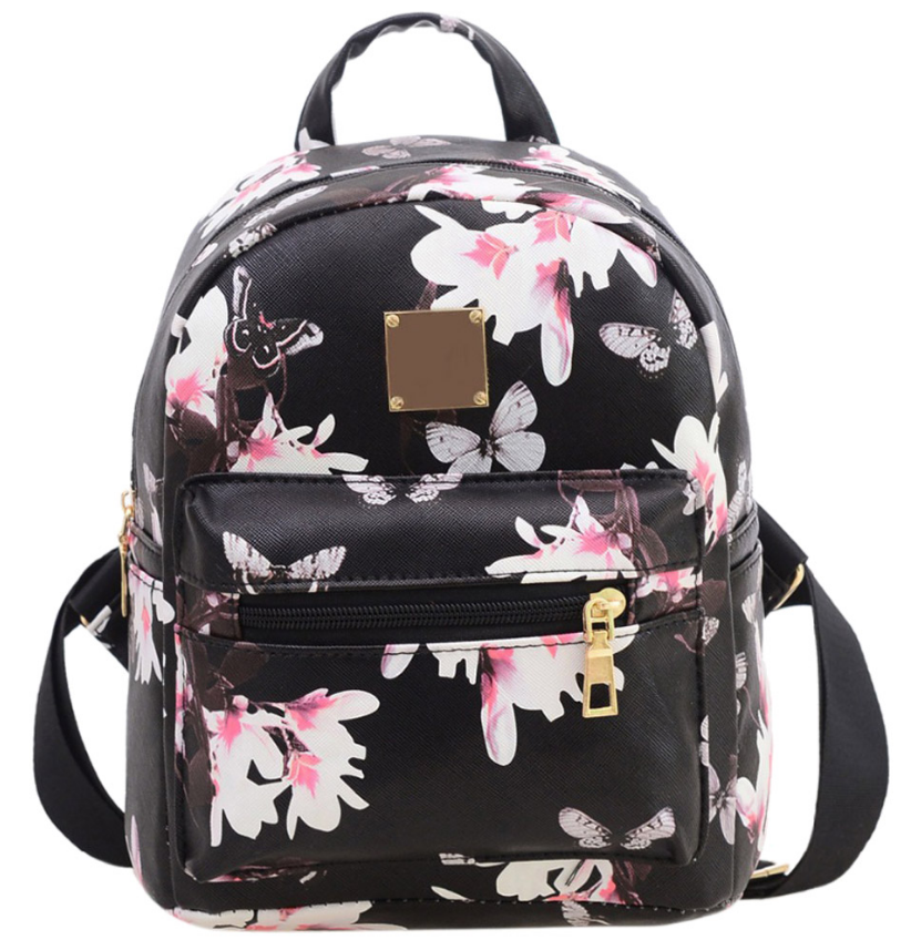 Рюкзак женский кожзам Цветочный принт Черный