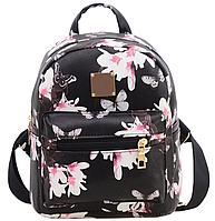 Рюкзак женский кожзам Цветочный принт Черный, фото 1