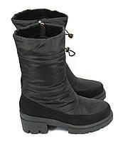 Зимние короткие сапоги дутики на каблуке, фото 1