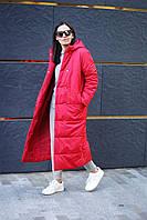 Женское зимнее пальто стеганое с капюшоном, женское пальто на синтепоне длинное