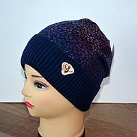 Зимняя шапка на девочку с отворотом 50-52