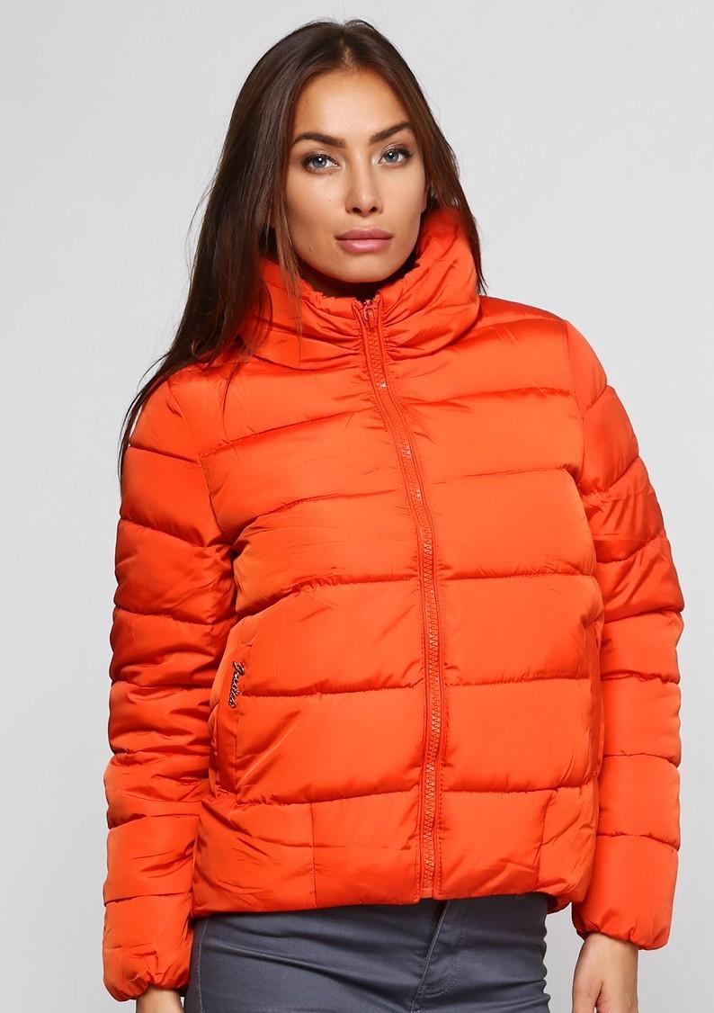 Куртка зимняя женская короткая, оранжевый пуховик, воротник стойка размер 44 (L)  СС-7800-55