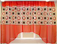 """Тюль для кухни аркой """"Марго"""" красная 3 м, фото 1"""