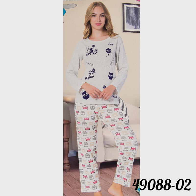 Пижама женская узорная на байке COTTON MORE Турция 49088-D2