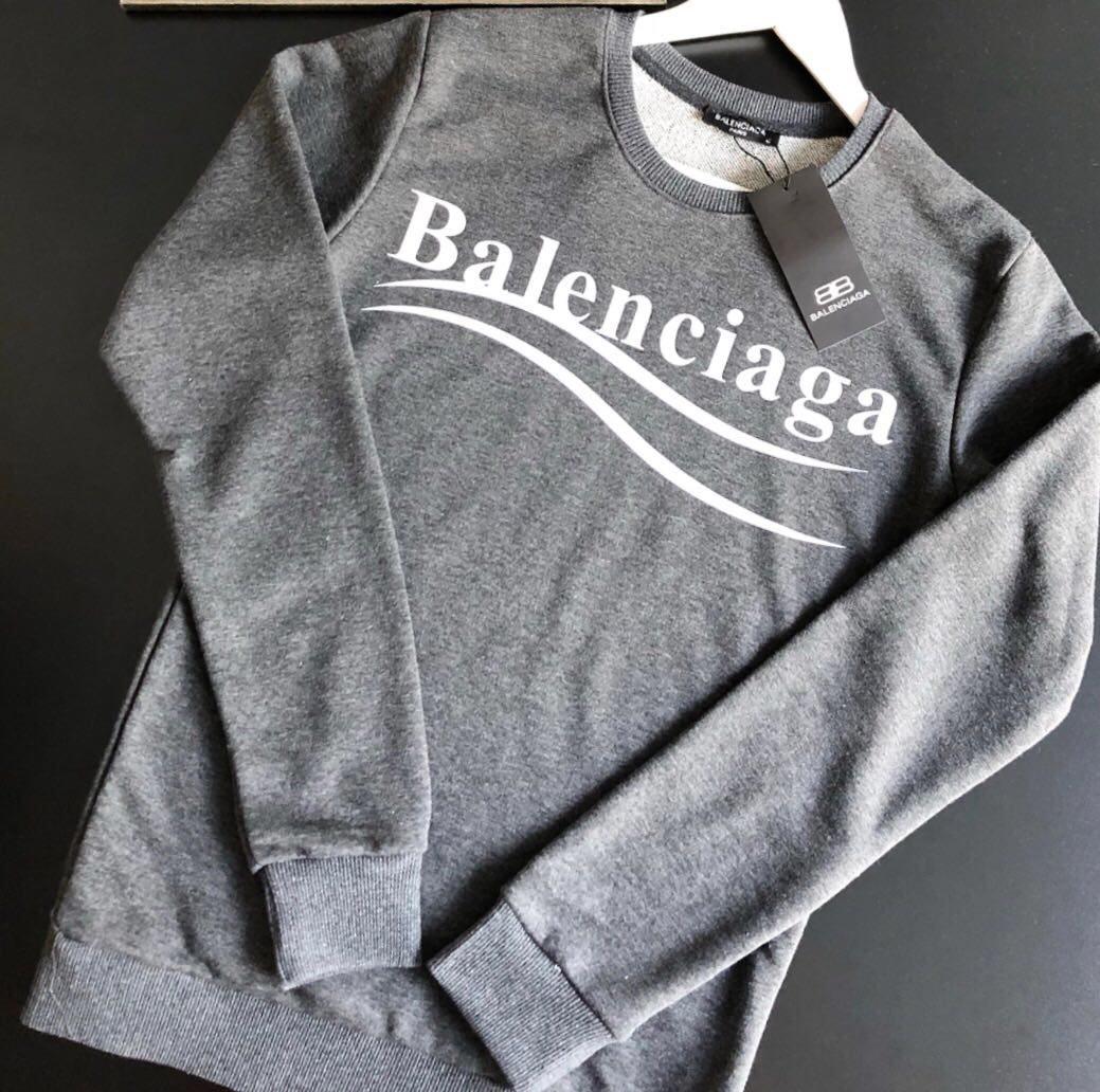 Молодежный свитшот Balenciaga серого цвета топ реплика