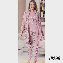 """Пижама женская тройка """"Soft"""" (футболка, штаны и халат) Зайцы FANCY 14298peach (3 ед. в упаковке)"""