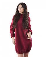 Флисовое домашнее платье-туника (размеры S-XL в расцветках) бордовый, XL