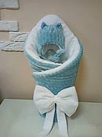 Конверт-плед плюшевый 80*100 см с шапочкой для новорожденного