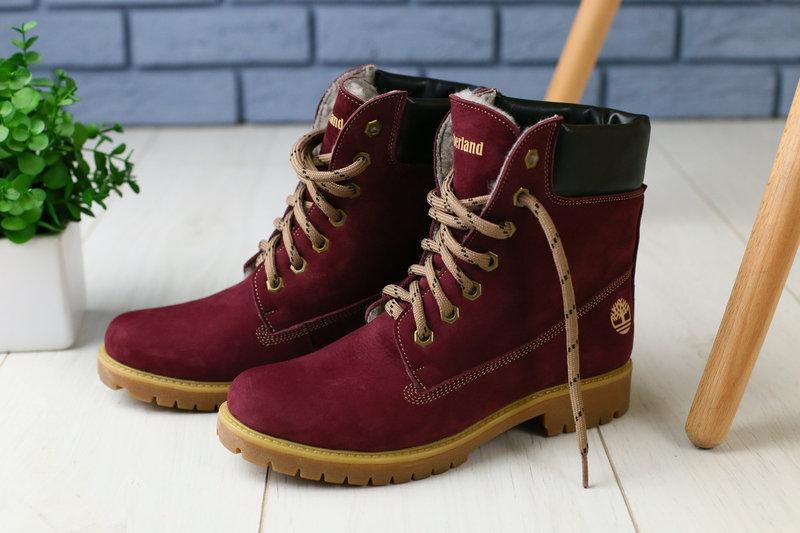 Зимові жіночі шкіряні черевики Timberland молодіжні яскраві молодіжні (бордові), ТОП-репліка