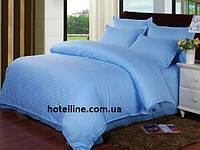 Постельное белье Отель - Сатин Страйп  blue голубой 1*1 евро (Турция)