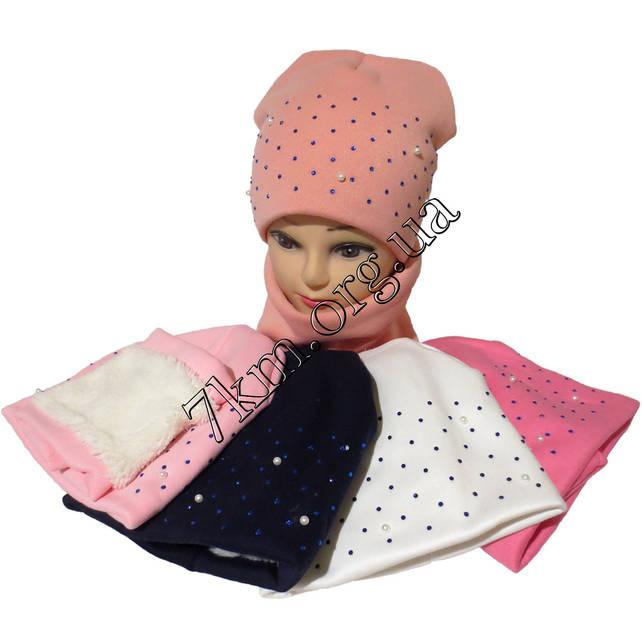 Комплект шапка + хомут детский трехнитка +мех для девочек