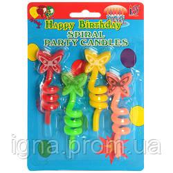 Аксессуары для праздника SR061 свеча 4шт, 9см, бабочка на спирали, на листе, 11,5-18,5-2,5см