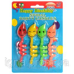 Аксессуары для праздника SR071 свеча 4шт, 10см, смайлик на спирали, на листе, 11,5-18-2см