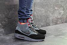 Высокие зимние кроссовки Nike air max 87,на меху,серые с черным,замшевые, фото 3